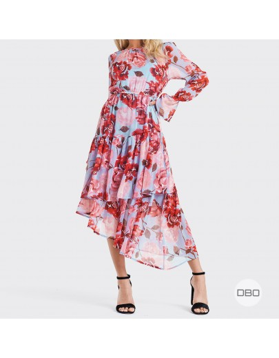 exNA-KD Asymmetric Chiffon Dress