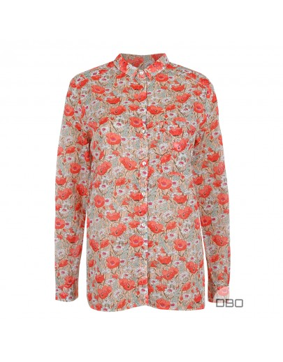 ExPromod Blouse With Red Poppies Prints