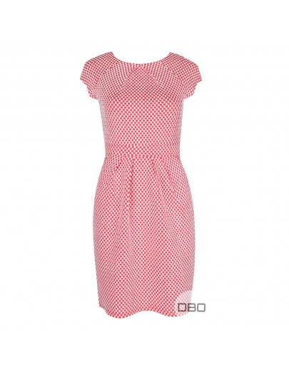 ExPromod Short Sleeve Dress With Square Prints