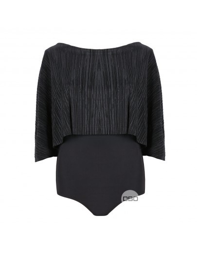 ExGirls on Film Black Pleated Slinky Bodysuit
